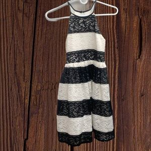 Girls black and white striped dress